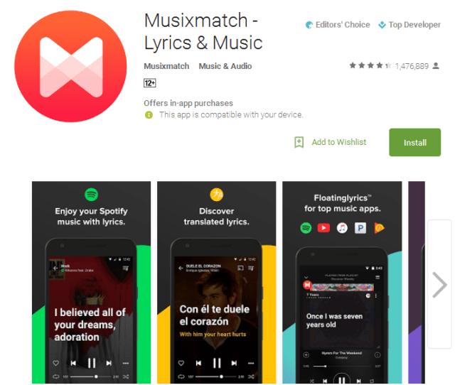 Musixmatch Lyrics Music Android Apps