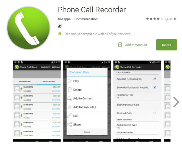 Phone Call Recorder Android Apps