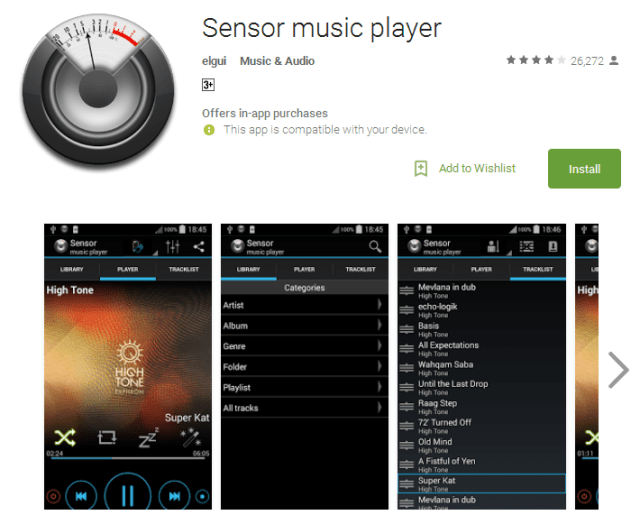Sensor music player Android Apps
