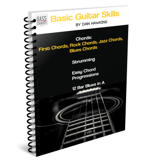 Free Guitar Ebook with chords, scales, strumming, easy chord progressions and a 12 Bar Blues in A