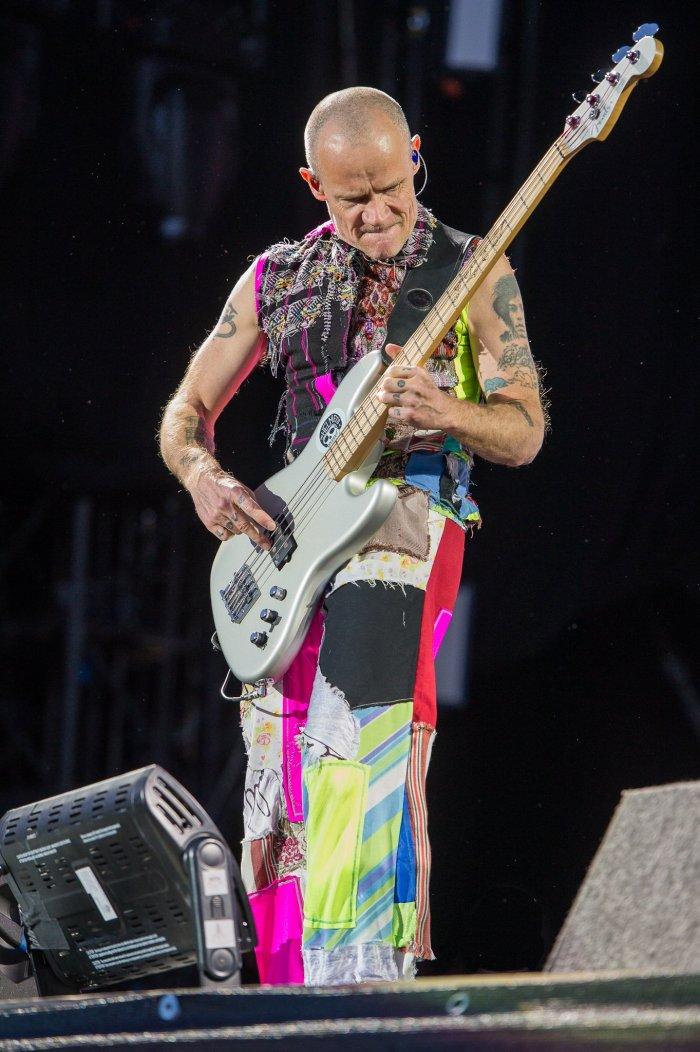 Flea playing bass guitar
