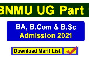 BNMU UG Part 1 Admission 2021