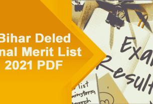 Bihar Deled Final Merit List 2021 PDF