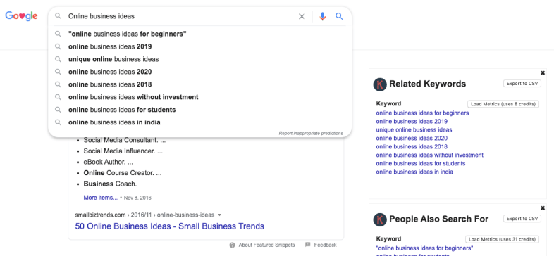 Google search box Keywords