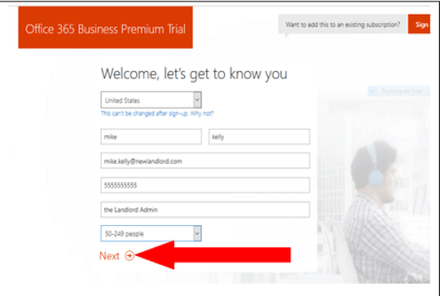 sign up office 365