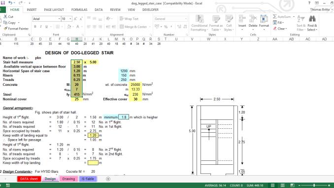 RCC Dog-legged Staircase design Excel Sheet