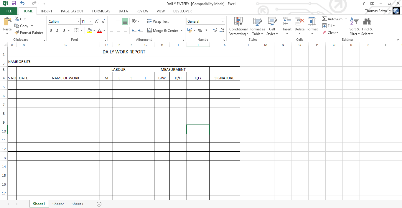 daily work report excel sheet