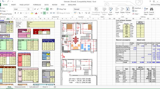 Building Construction Estimation Excel Sheet Online Civil