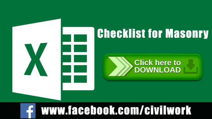Checklist for Masonry Excel Sheet