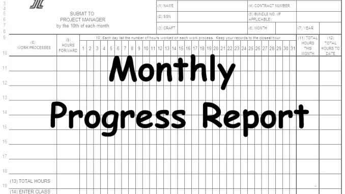 monthly progress report mpr  spreadsheet