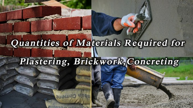 Quantities of Materials Required for Plastering, Brickwork
