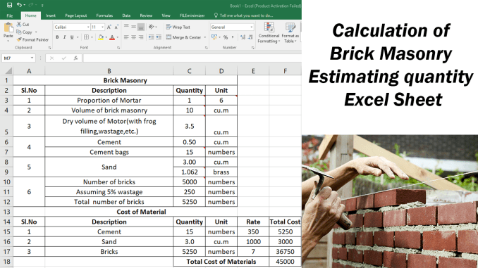 Calculation of Brick Masonry Estimating Quantity Excel Sheet