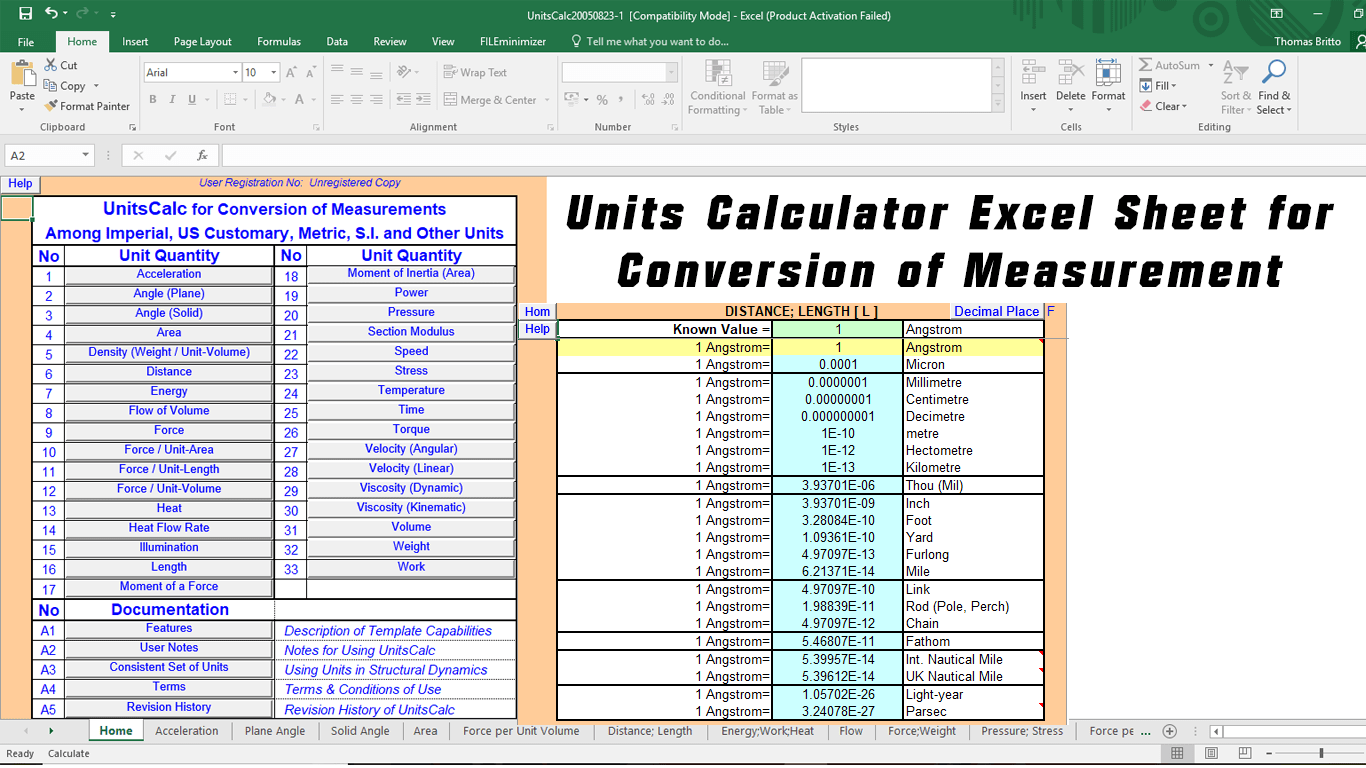 Units Calculator Excel Sheet for Conversion of Measurement
