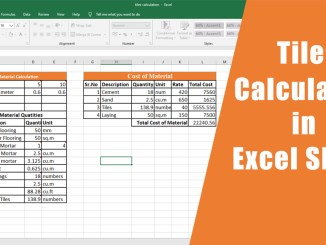 Flooring Tiles Calculation in Excel Sheet Free Download