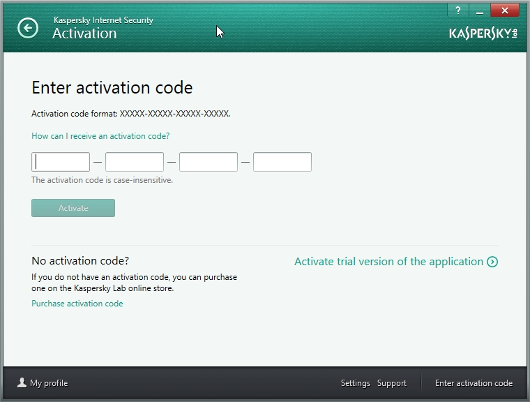 install kaspersky with activation code