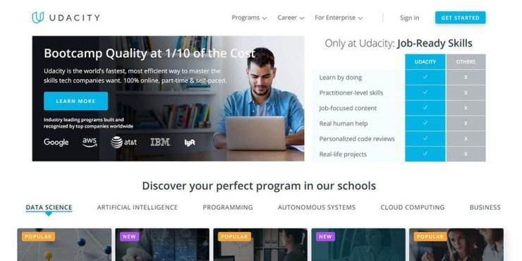 screenshoot of Udacity homepage online courses