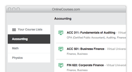 College courses for accounting