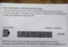 EBSU Post UTME Result Checker Card (BACK)