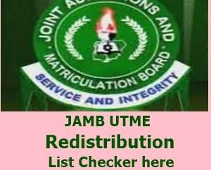 JAMB redistribution list checker image