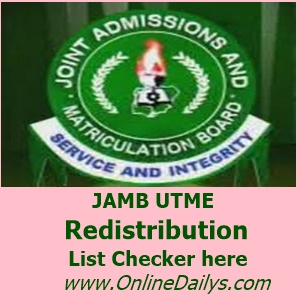 JAMB redistribution list checker image