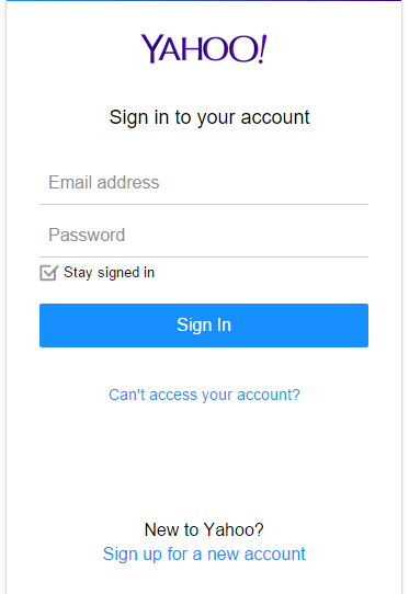 Yahoo email login page
