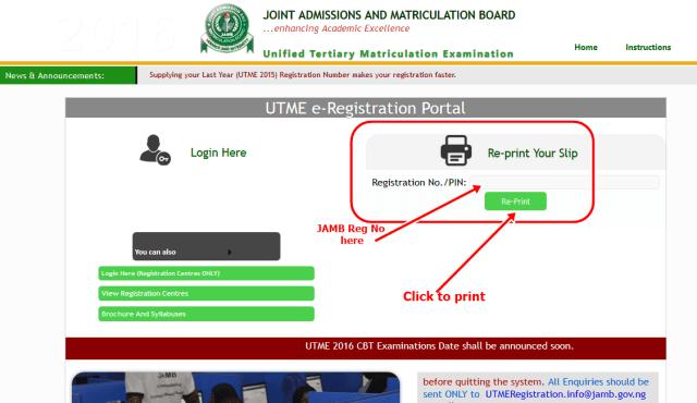 www.JAMB.org.ng Reprint Slip 2