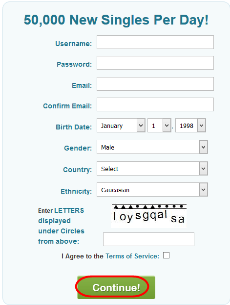 PlentyOfFish Account Registration