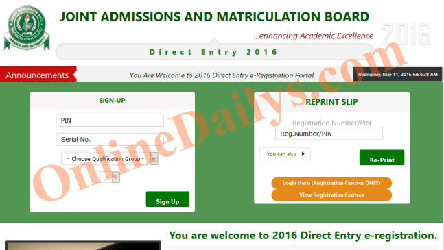 Deadline for 2016 Direct Entry Online Registration