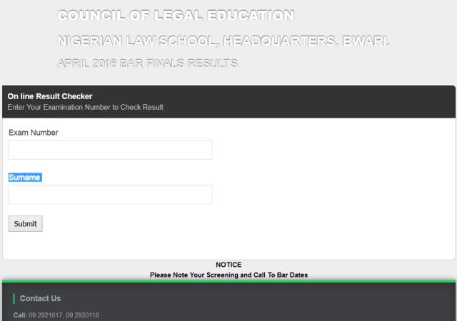 NLS result checking portal