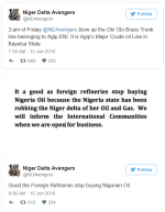 Niger Delta Avengers twitter page