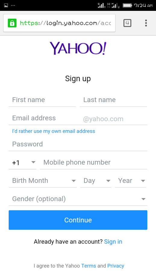 Yahoo Mail Sign Up Using Mobile Phone - Yahoo Mail Create
