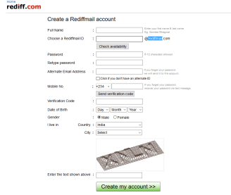 Rediffmail Sign Up registration form