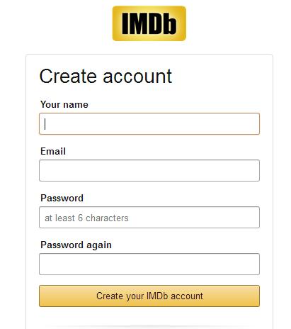 Image of IMDb Account Sign Up