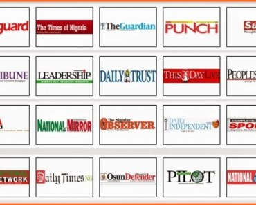 Top Nigeria Newspaper Headlines Today From Vanguard, Punch, Nation 2016