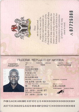 inside view of Nigeria international passport for Nigeria