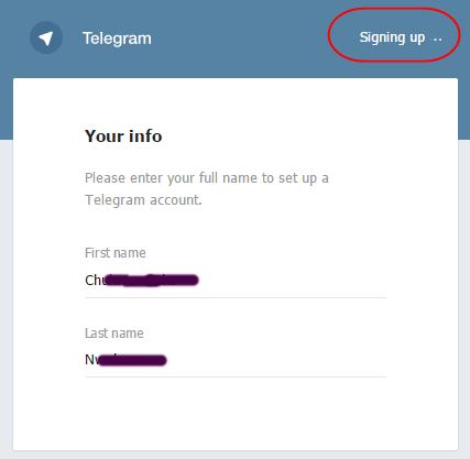 logo: Telegram signup