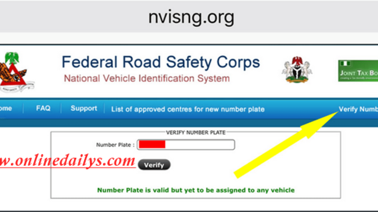 How To Verify FRSC Plate Number Online & Through SMS | FRSC Plate