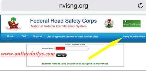 How To Verify FRSC Plate Number Online & Through SMS   FRSC Plate Number Verification Website - www.nvisng.org 1