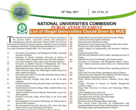 List Of Illegal Nigeria Universities Closed Down By NUC 1