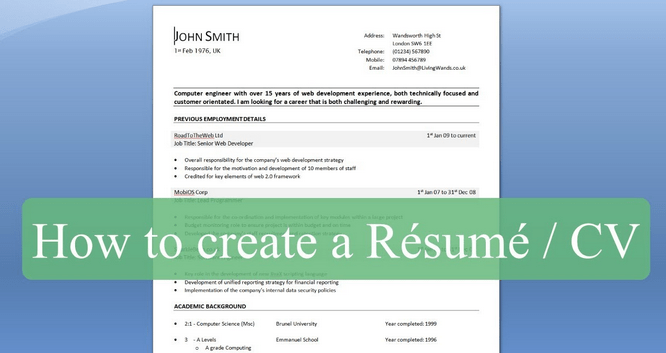 How To Write A Professional Résumé/CV