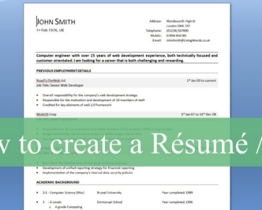 Write A Professional CV And Resume