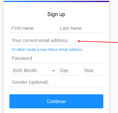 Mail register yahoo Help for