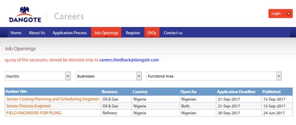 Latest Dangote Group Job Recruitment Application 2017 – Dangote Careers Job Openings