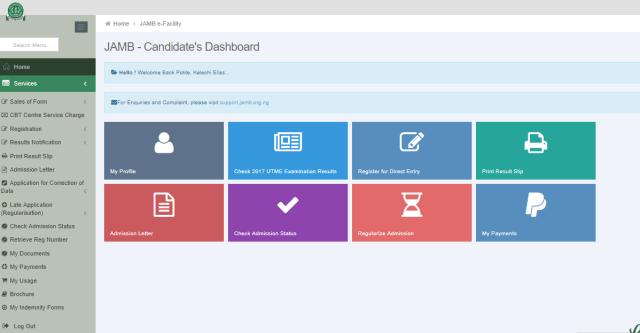 Sample of JAMB Profile account dashboard