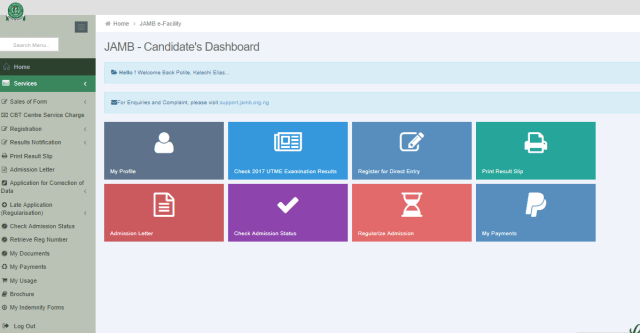 Sample of JAMB Profile account dashboard