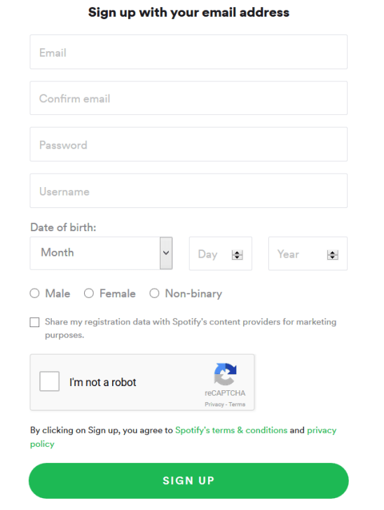 Spotify Registration form page