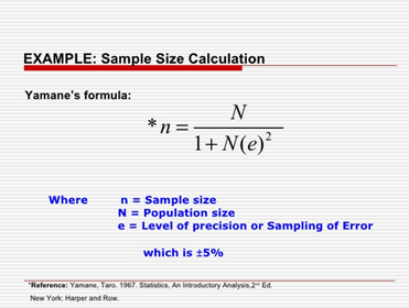 How To Calculate Sample Size Using Taro Yamani Formula