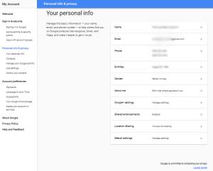 Gmail ersonal profile page