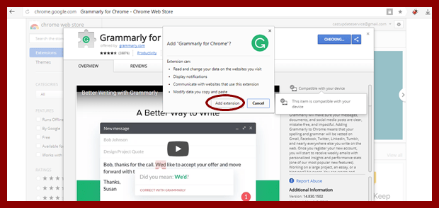 Grammarly Add extension
