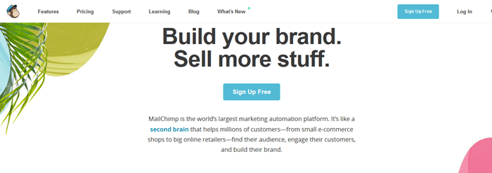 MailChimp page - Free Email Marketing and Automation Websites